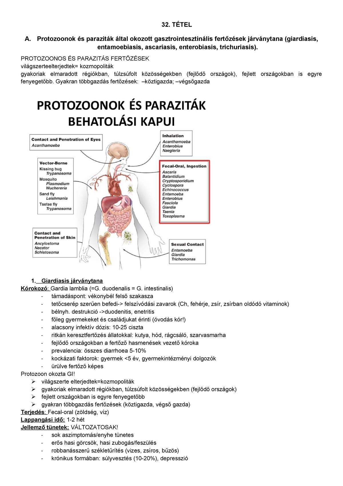hasi fájdalom enterobiasissal)